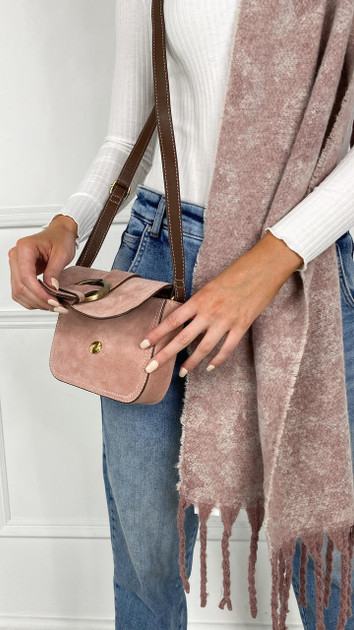 Get That Trend Only Blush Suede Crossbody Bag
