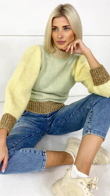 Get That Trend Pieces Yellow High Neck Colourblock Knitted Pullover