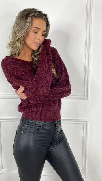 Get That Trend JDY Wine V-Neck Knitted Pullover
