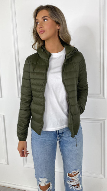 Get That Trend Only Khaki Quilted Jacket