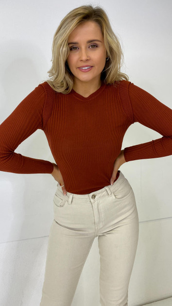 Get That Trend Only Rust Ribbed Long Sleeve Top