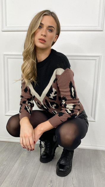 Get That Trend JDY Leopard Print Knitted Pullover
