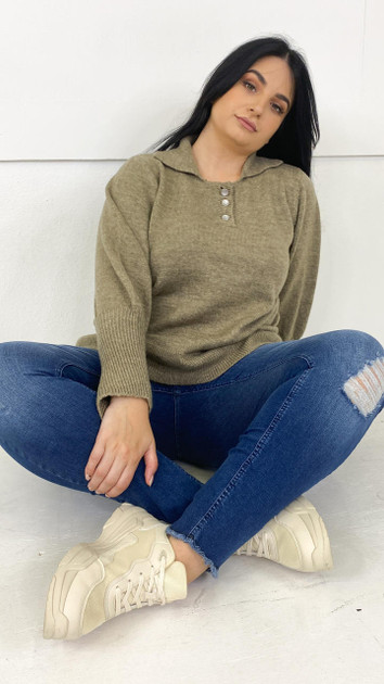 Get That Trend Vero Moda Curve Fossil Knitted Pullover