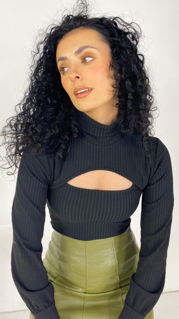 Get That Trend Only Black Long Sleeve Double Crop Top