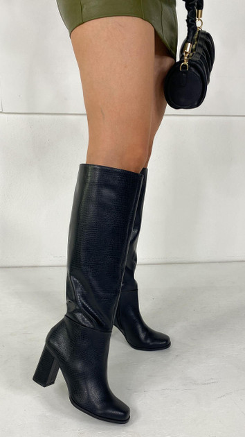 Get That Trend Vero Moda Black Knee High Faux Leather Boots