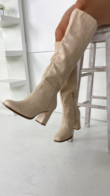 Get That Trend Vero Moda Cream Knee High Faux Leather Boots