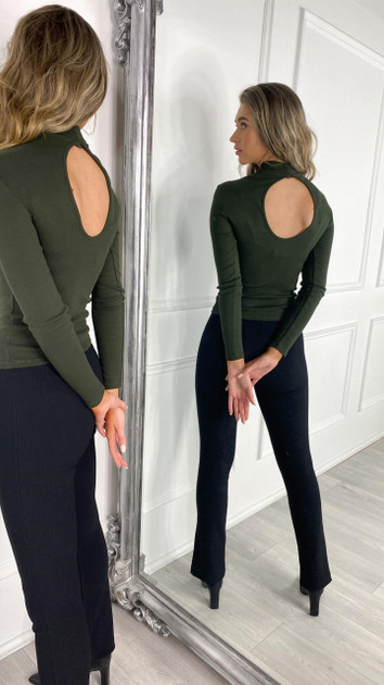 Get That Trend Only Life Khaki Open Back Top