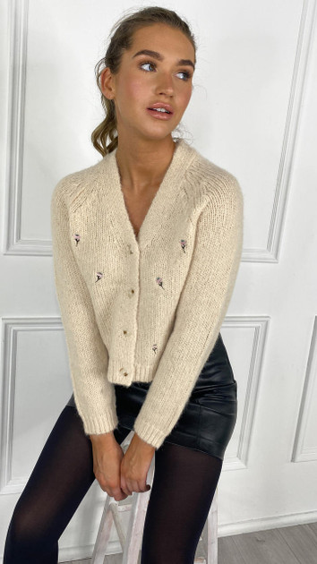 Get That Trend Pieces Cream Embroidered Cardigan