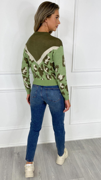 Get That Trend JDY Green Leopard Knitted Pullover
