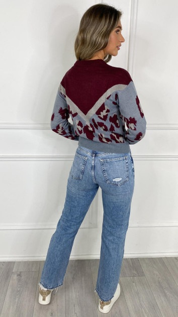 Get That Trend JDY Wine Leopard Knitted Pullover
