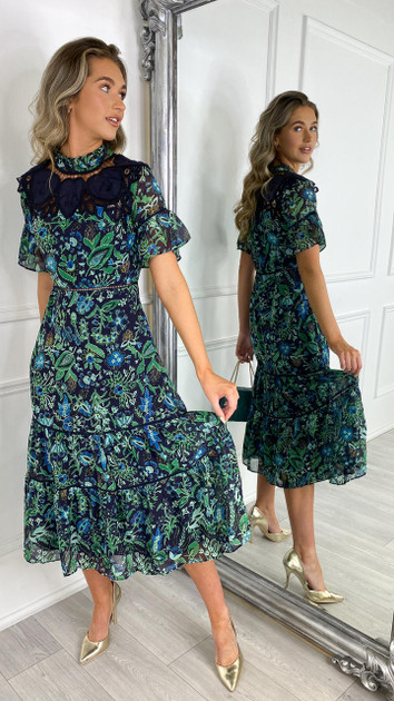 Get That Trend Hope and Ivy Green Floral Sweetheart Tea Dress