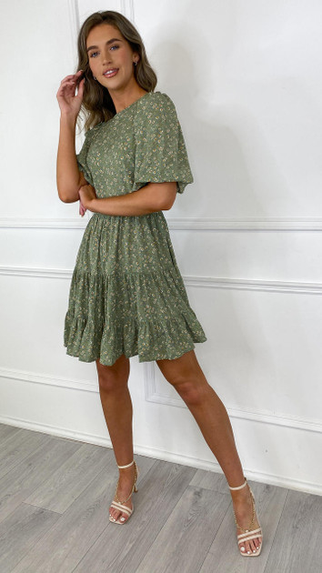 Get That Trend Ivy Lane Green Floral Tiered Mini Dress