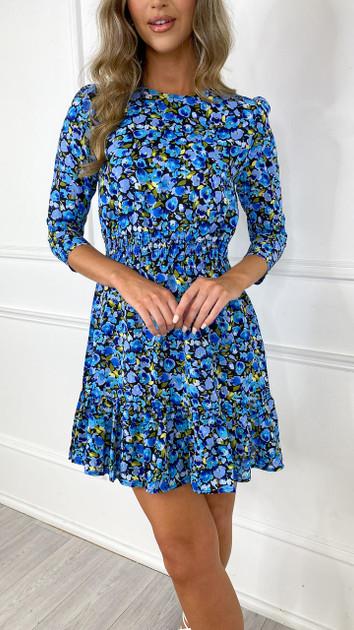 Get That Trend Ivy Lane Blue Floral Frill Hem Mini Dress