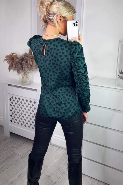 Get That Trend AX Paris Teal Heart Printed Long Gathered Sleeve Top