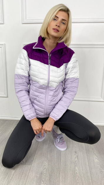 Get That Trend Columbia Womenss Powder Lite Blocked Jacket in Plum/White/Lilac