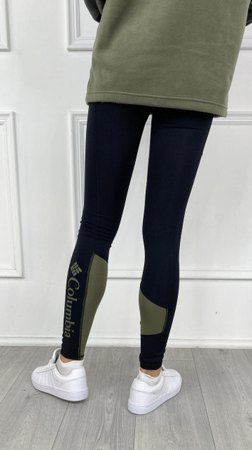 Get That Trend Columbia Womens Lodge Colourblock Tights In Black/Stone Green