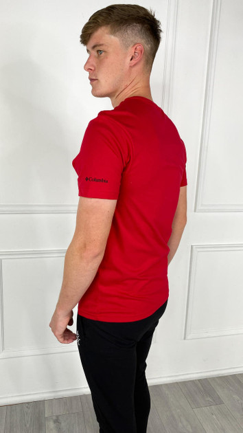Get That Trend Columbia Mens Basic Logo Short Sleeve T-Shirt In Red