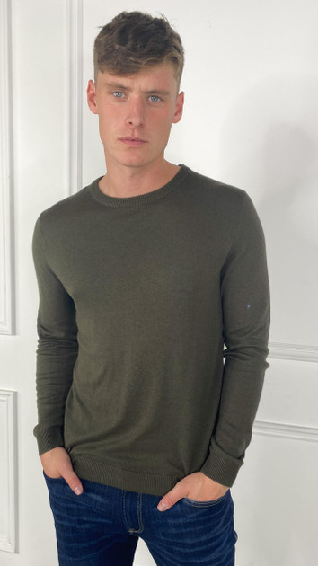 Get That Trend Produkt Mens Basic Knit Crew Neck Sweater In Green