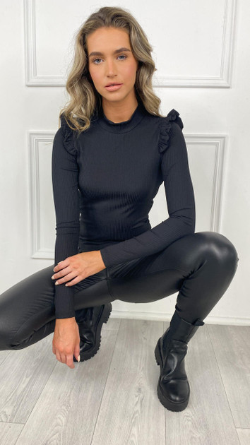 Get That Trend Pieces Black Ribbed Frill Detail Top