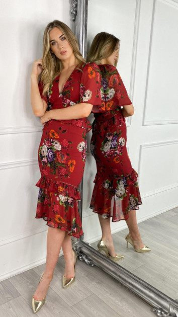 Get That Trend Hope and Ivy Midi Tea Dress With Peplum Waist And Tiered Ruffle Skirt