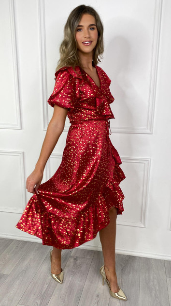 Get That Trend Ivy Lane Red and Gold Ruffle Detail Wrap Midi Dress