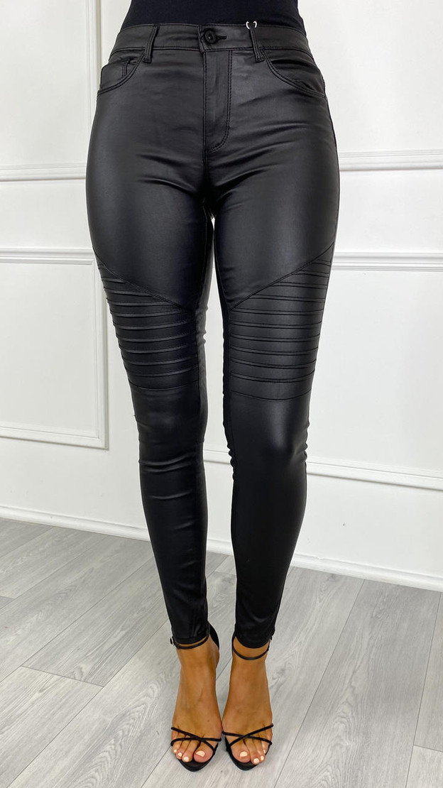 Only Royal Black Biker Style Coated Jeans