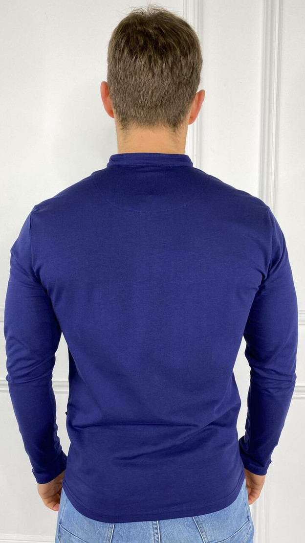 Yves Navy Button Detail Long Sleeve Top