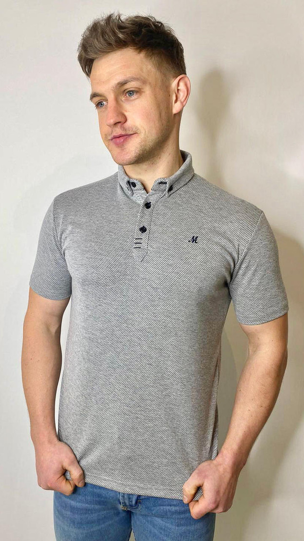 Bowie Grey Textured Polo Shirt