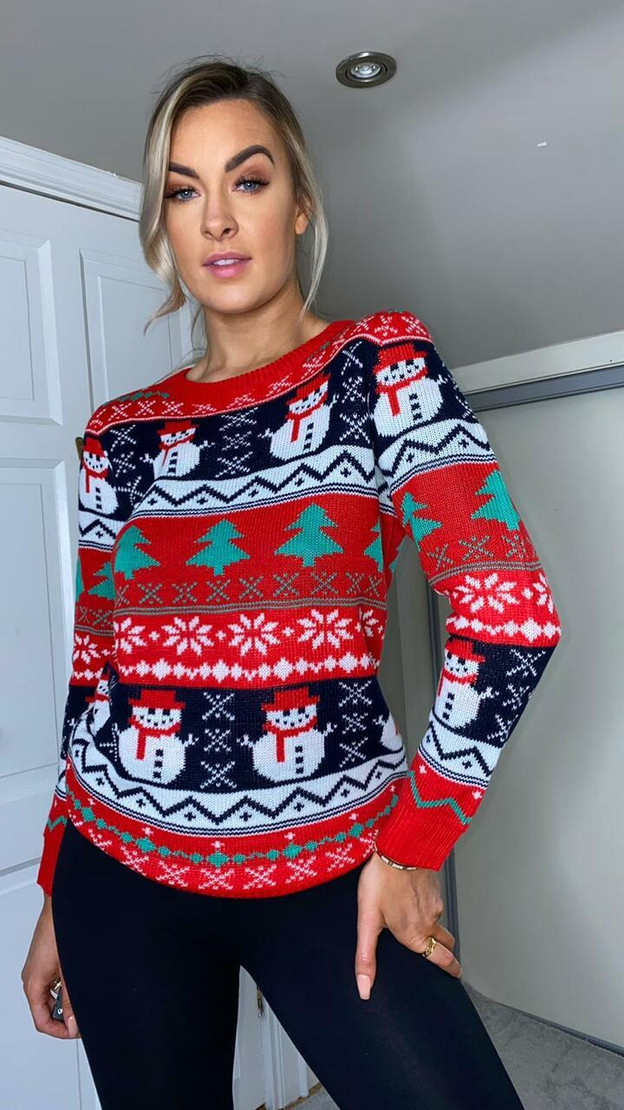 Coco Red Mix Print Christmas Jumper