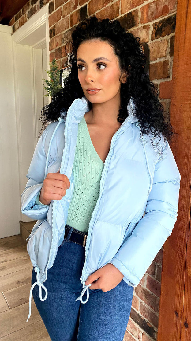 Get That Trend Sky Blue Hooded Padded Jacket