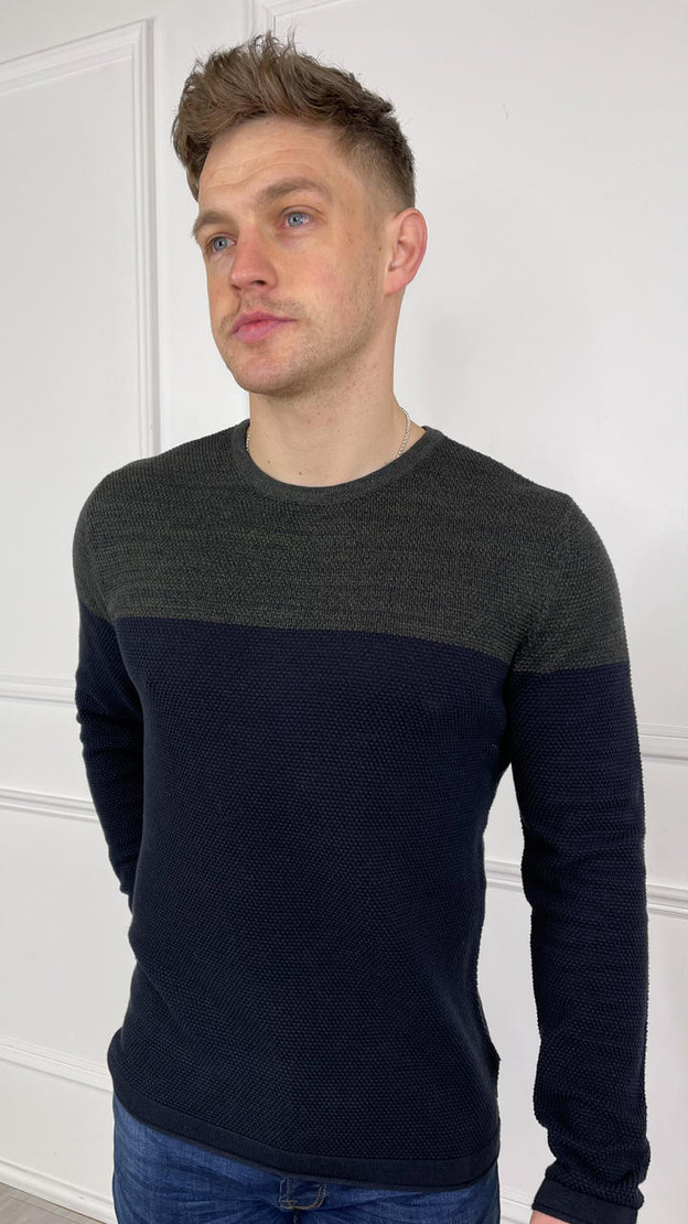 Only & Sons Navy Green Colour Block  Crewneck Knit Jumper