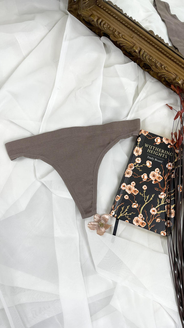 Pieces 2 Pack Rib String Thong in Brown