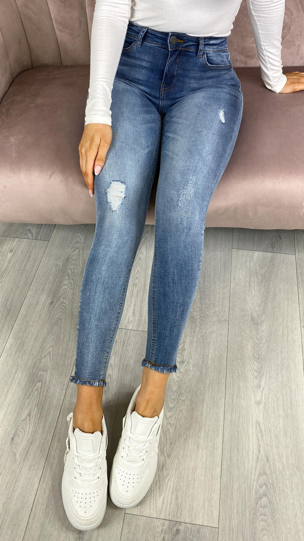 Noisy May Cropped Ankle Light Denim Blue Skinny Jeans