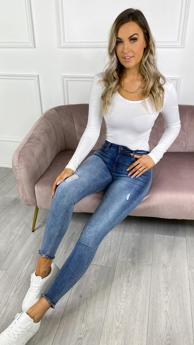 Get That Trend Noisy May Cropped Ankle Light Denim Blue Skinny Jeans
