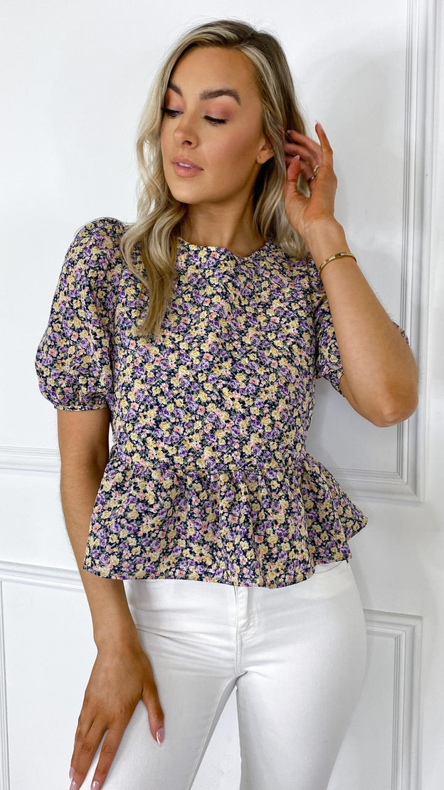 Only Purple Floral Short Sleeve Top