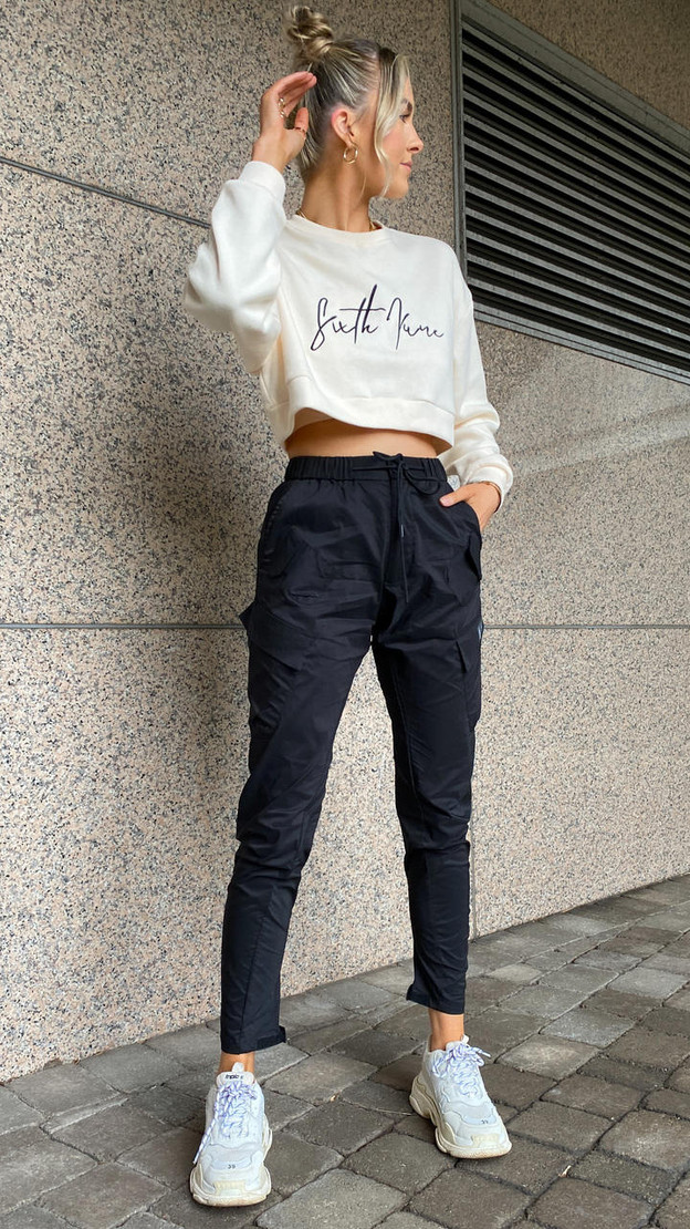 Get That Trend Sixth June Cargo Multi Pocket Joggers in Black
