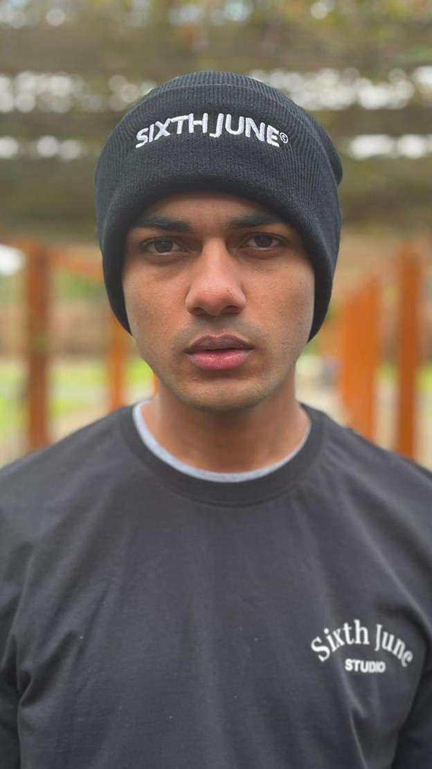 Sixth June Embroidered Unisex Logo Beanie in Black