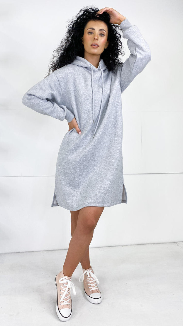 Sisters Point Grey Hooded Dress