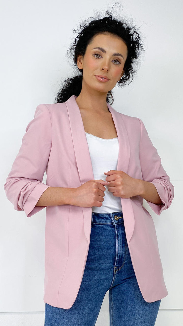 Get That Trend Pieces Pink Long Classic Blazer