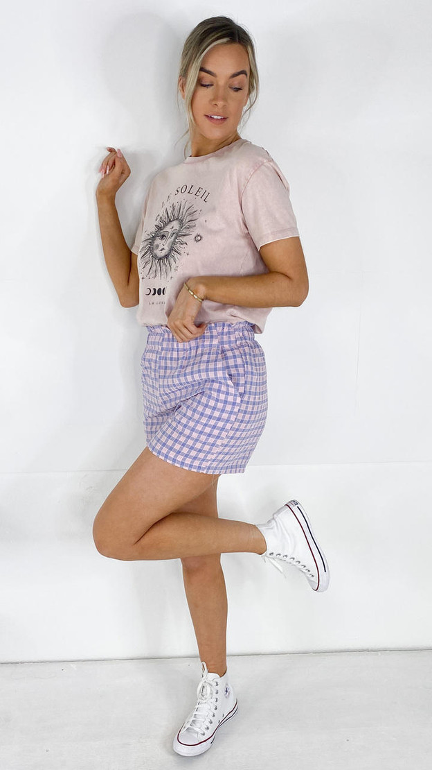 Get That Trend Pieces Purple Check Shorts