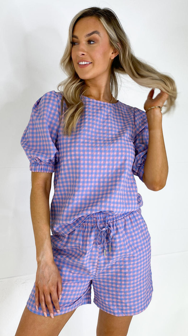 Sisters Point Pink & Blue Checked Shorts