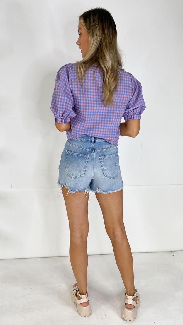 Get That Trend Pieces Floral Embroidered Light Blue Denim Shorts