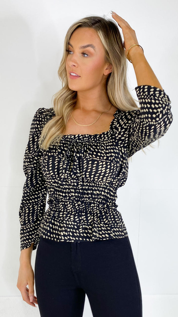 Sisters Point Black & Cream Printed Blouse