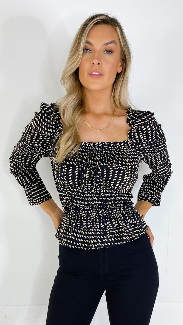 Get That Trend Sisters Point Black and Cream Printed Blouse