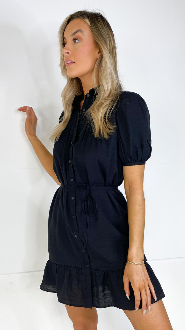 Only Black Collared Button Down Frill Dress