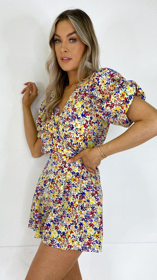 Get That Trend AX Paris Floral Ruched Puff Sleeve Playsuit