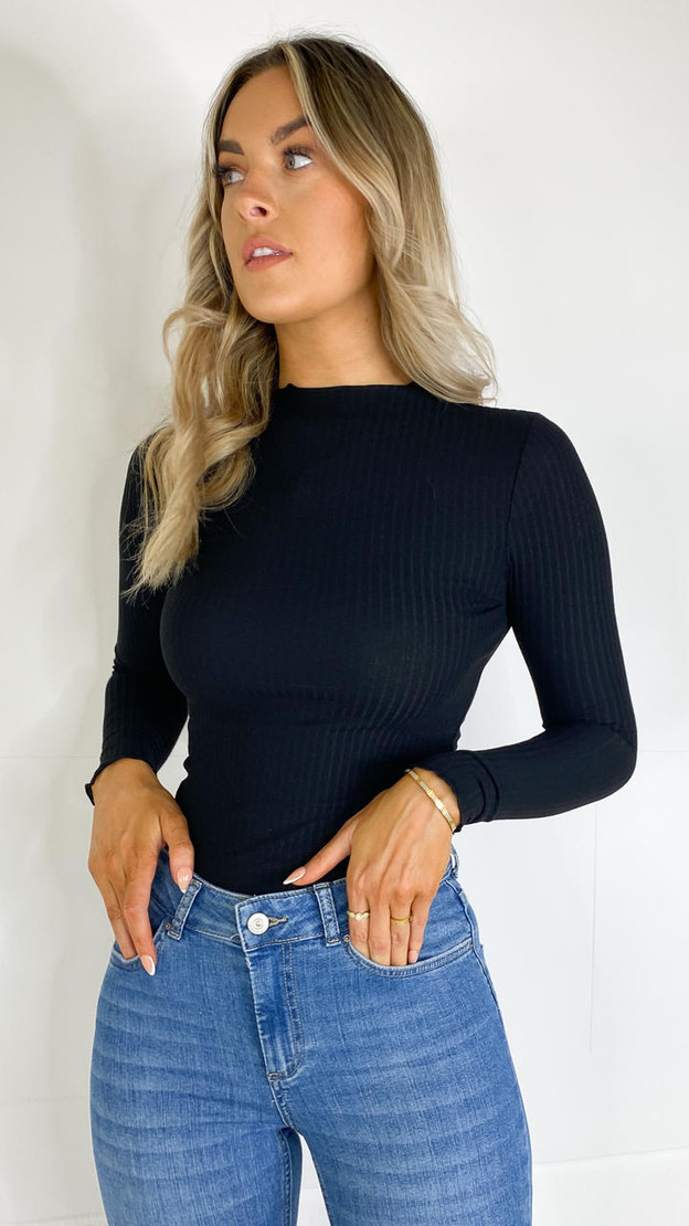 Only Black Long Sleeve High Neck Top