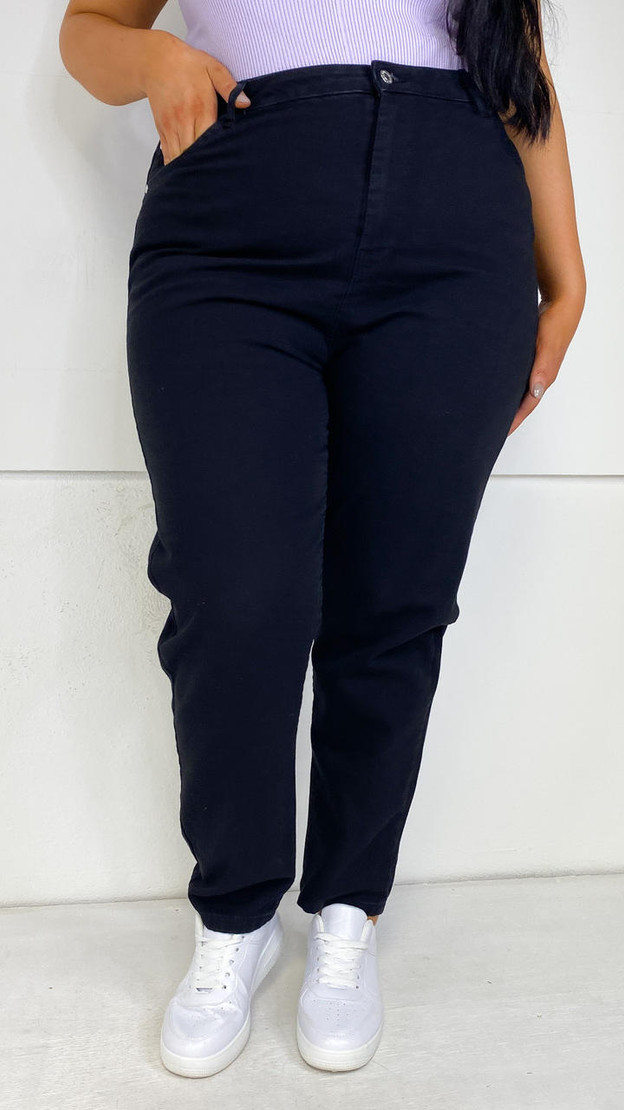 Wednesday's Girl Curve Mom Jeans in Black Wash