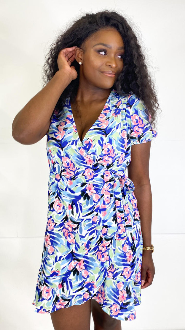Get That Trend Only Blue and Pink Printed Wrap Dress