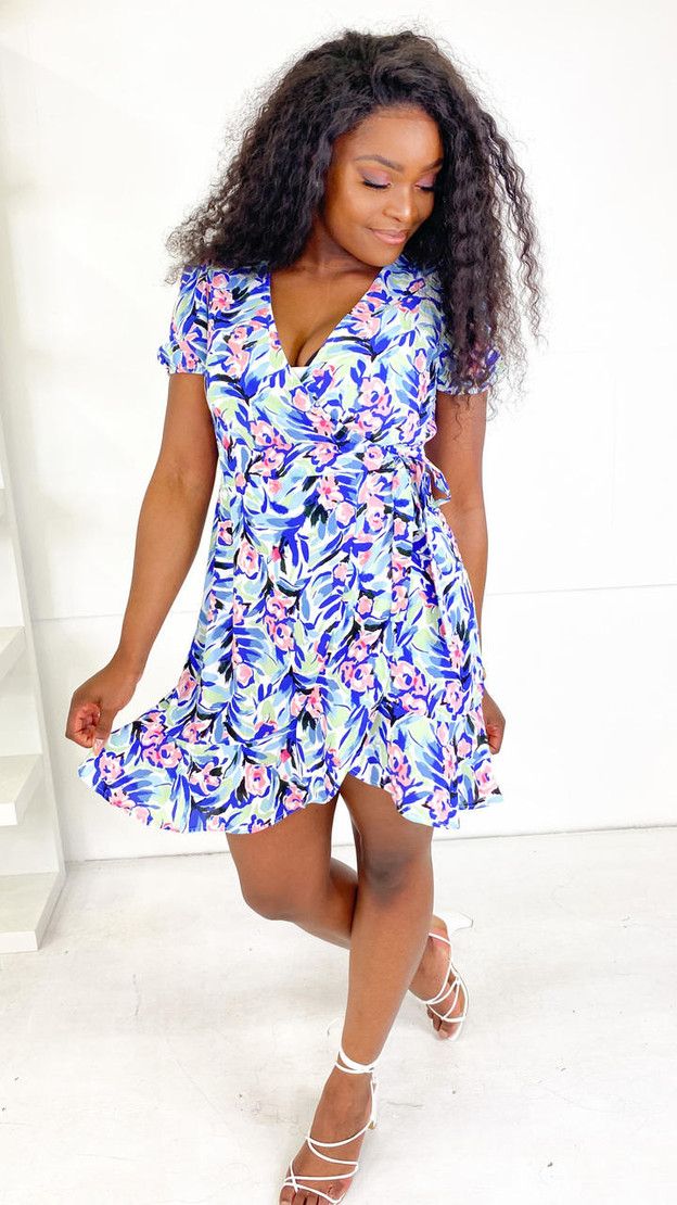 Only Blue & Pink Printed Wrap Dress